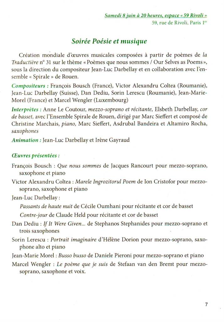 Program concert Paris 2013